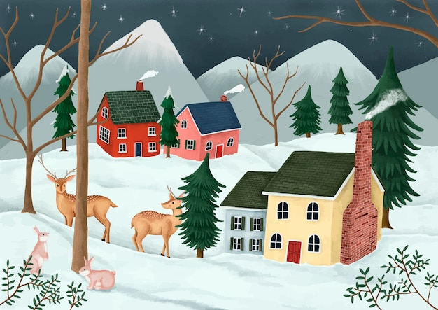 Hand-drawn village on a starry night with deer and rabbits in the neighborhood Free Vector