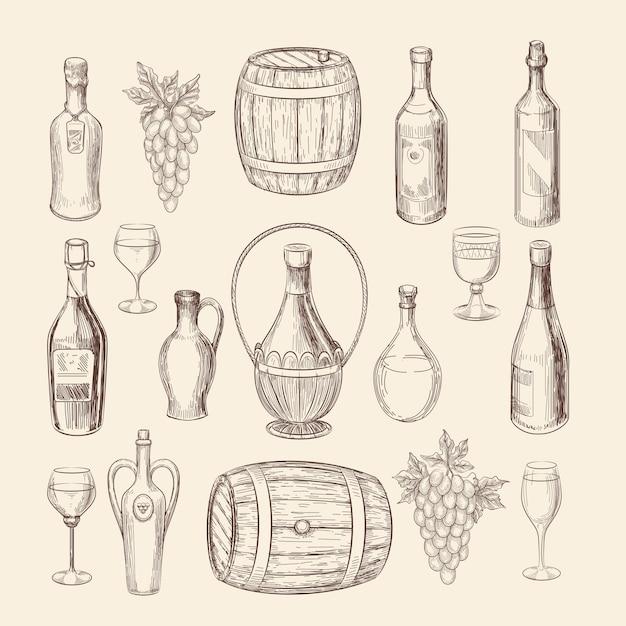 Schizzo disegnato a mano del vigneto e scarabocchiare elementi vettoriali di vino. doodle vigneto e uva disegnati a mano, illustrazione di alcol vino Vettore gratuito