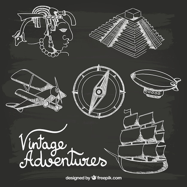Hand drawn vintage adventures Free Vector