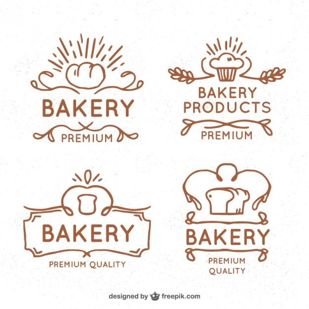 Hand drawn vintage bakery logos Free Vector