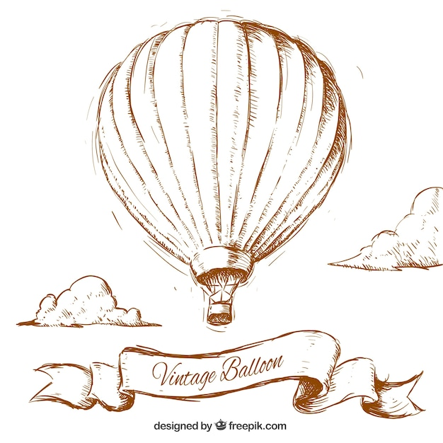 Hand Drawn Vintage Balloon Premium Vector