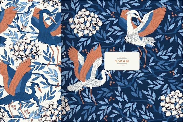 手描きのヴィンテージ美しい鳥のパターンテンプレート Premiumベクター