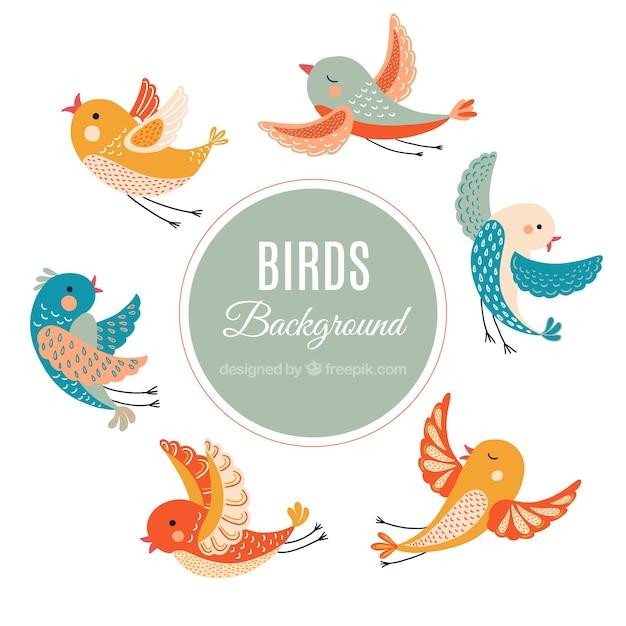 hand drawn vintage birds background vector free download