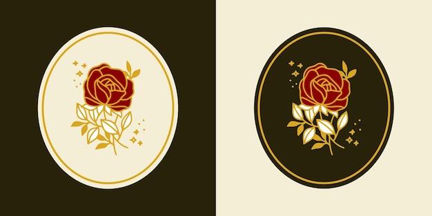 手描きのヴィンテージ植物のバラの花のロゴのテンプレートとフェミニンな美しさのブランド要素セット Premiumベクター