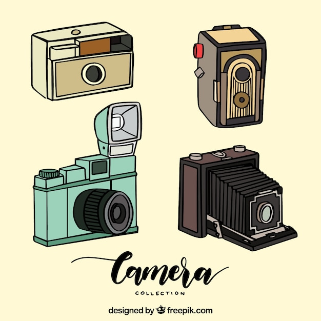 Hand drawn vintage camera collection