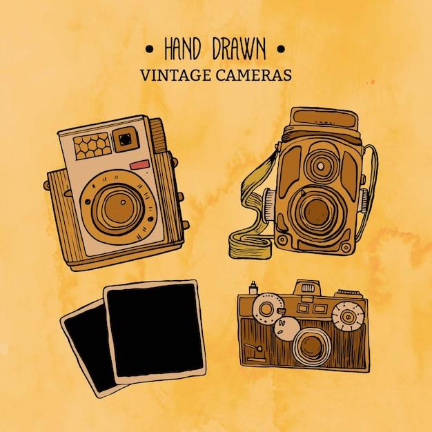 Hand drawn vintage cameras pack