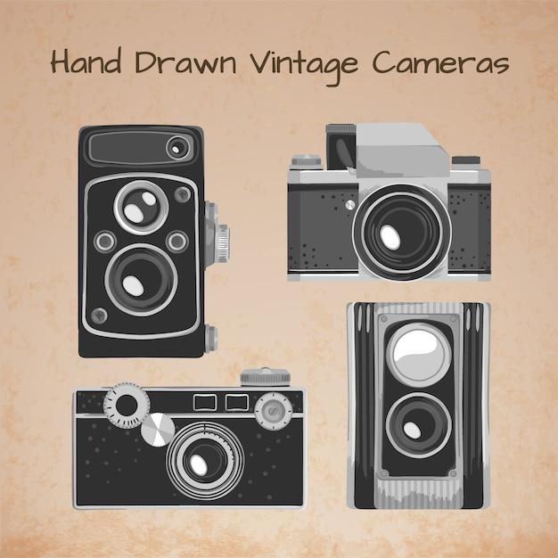 Hand drawn vintage cameras