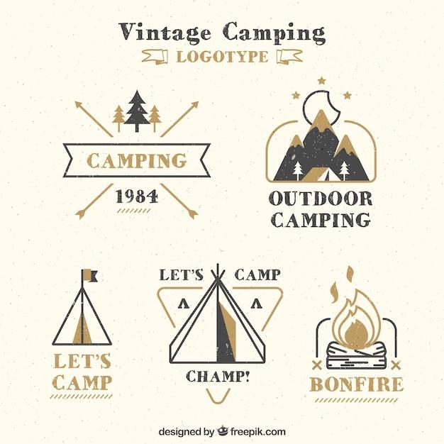 Hand drawn vintage camping logotype