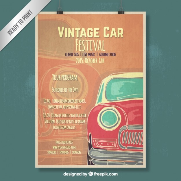 hand drawn vintage car poster free vector