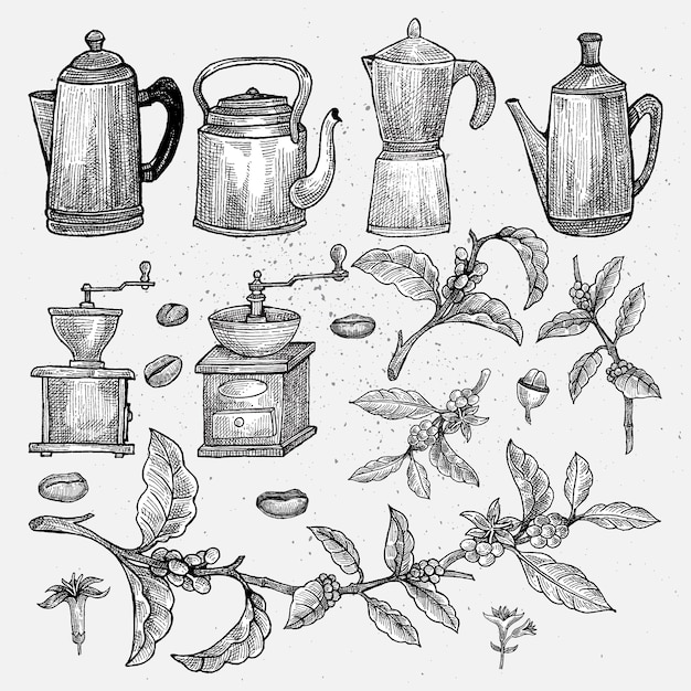 Hand Drawn Vintage Coffee Set Isolated Artwork Object Suitable For And Any Print