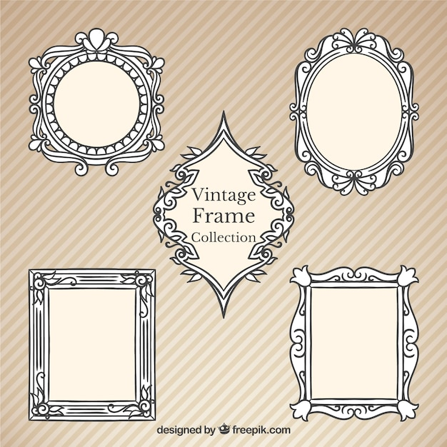 Hand drawn vintage decorative frames Free Vector