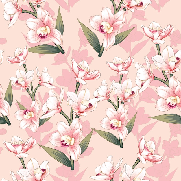 Hand drawn vintage floral background Premium Vector
