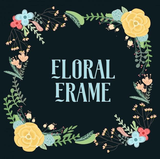 Hand drawn vintage floral element cards for wedding invitation. Premium Vector