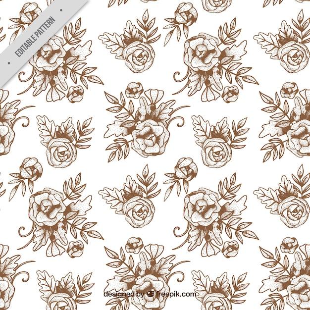 Hand-drawn vintage flower pattern Free Vector