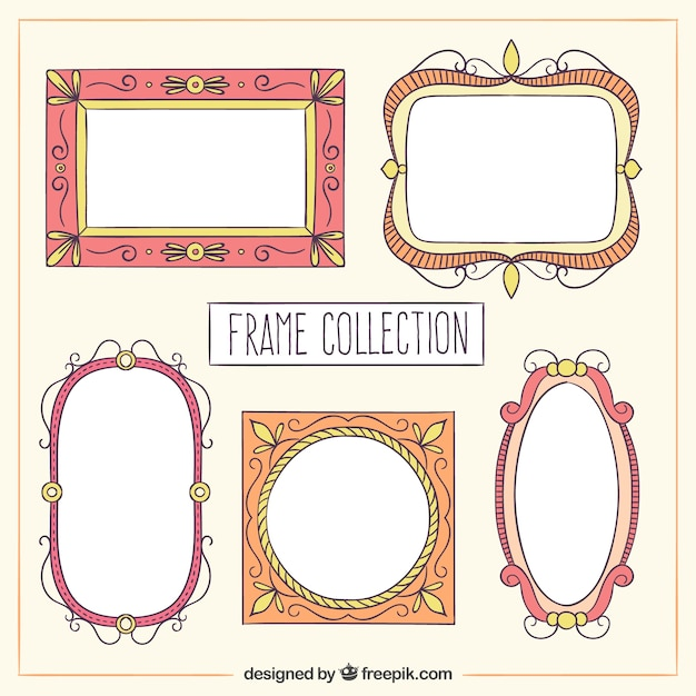 50043f4d982 Hand drawn vintage frame collection Free Vector