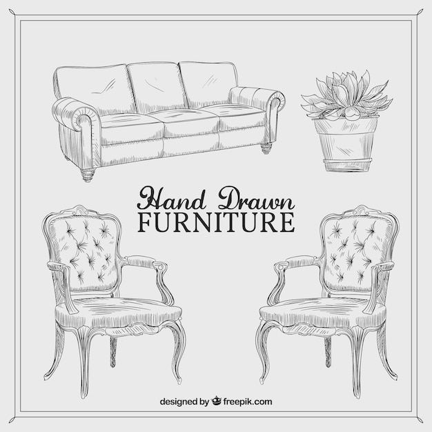 Hand Drawn Vintage Furniture Vector