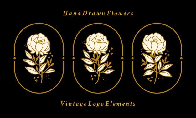 Нарисованная рукой винтажная коллекция золотых ботанических пионов с логотипом Premium векторы