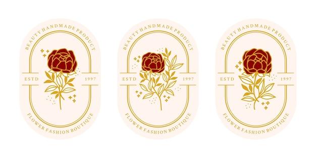 손으로 그린 빈티지 골드 식물 장미 꽃 로고 템플릿 및 여성 뷰티 브랜드 요소 컬렉션 프리미엄 벡터