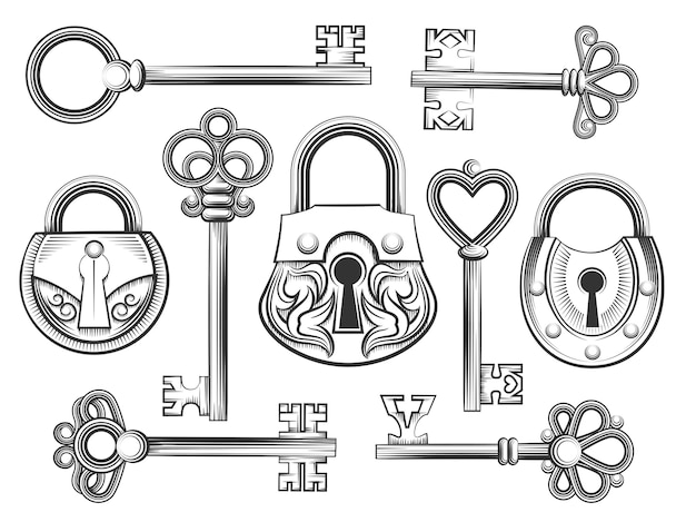 Hand drawn vintage key and lock vector set. padlock and keyhole, antique collection, security and safety Premium Vector