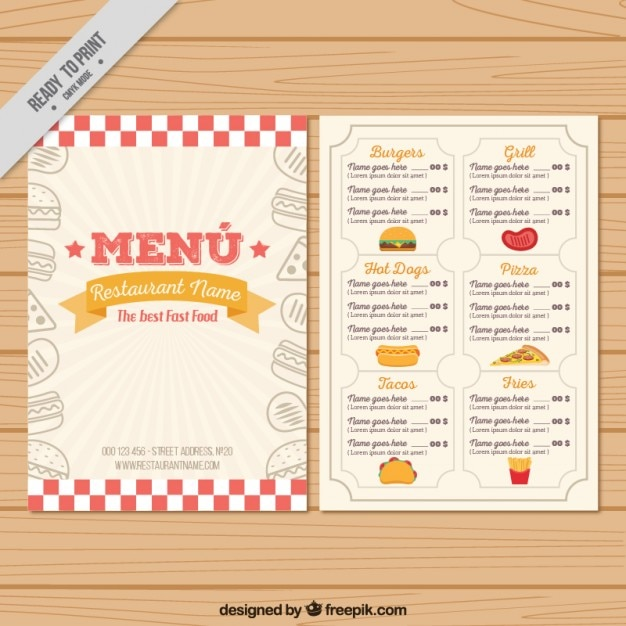 Hand Drawn Vintage Menu Template Vector  Free Download