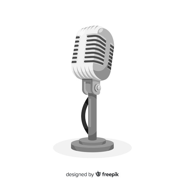 Hand drawn vintage microphone Free Vector