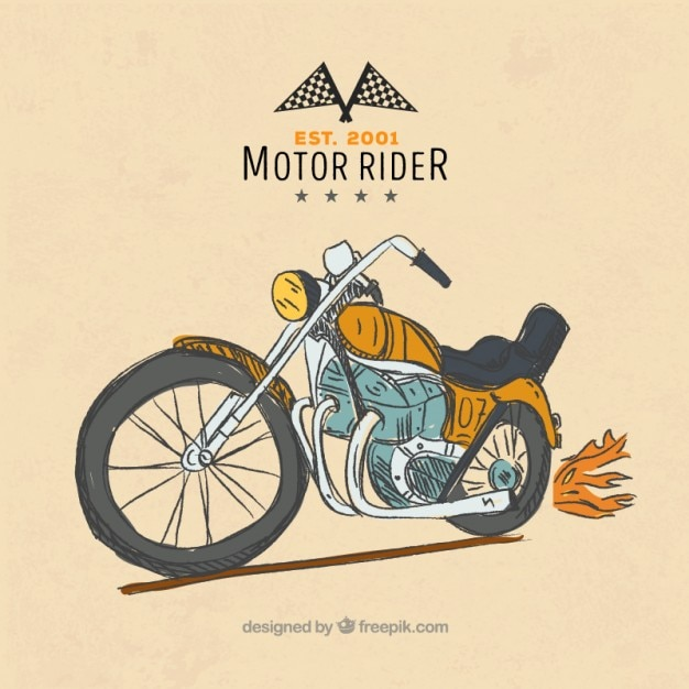 Hand-drawn vintage motorcycle background