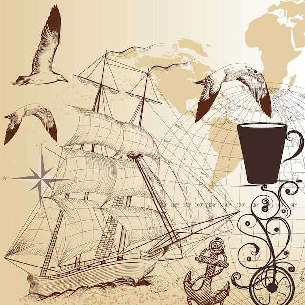 Hand drawn vintage nautical background Premium Vector