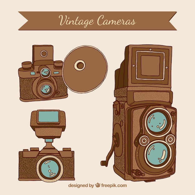 Hand drawn vintage photo cameras