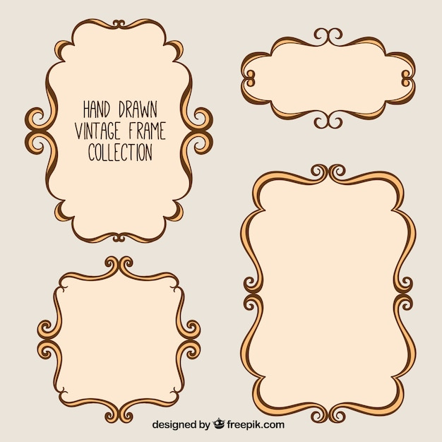 Hand drawn vintage photo frames Free Vector