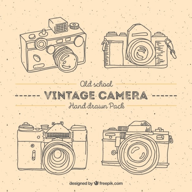 Hand drawn vintage photography cameras