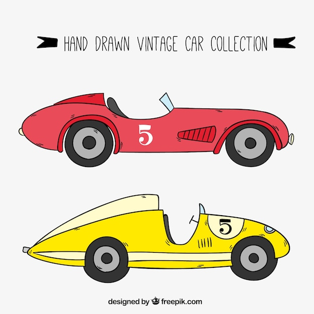 Hand Drawn Vintage Racing Cars Vector Free Download