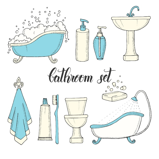Hand drawn vintage set of objects from the bathroom. Premium Vector