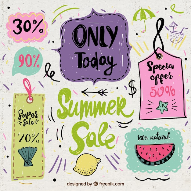 Hand drawn vintage summer sale labels  Free Vector