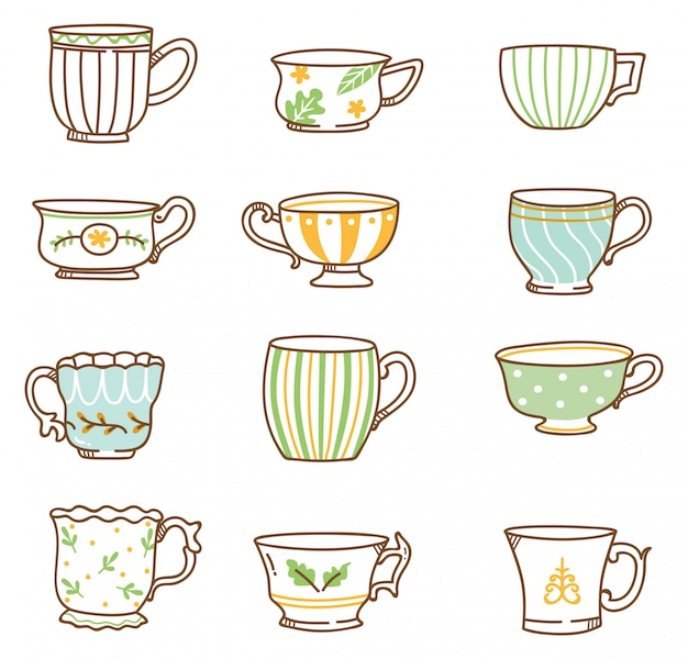 Hand drawn vintage tea cups set Premium Vector