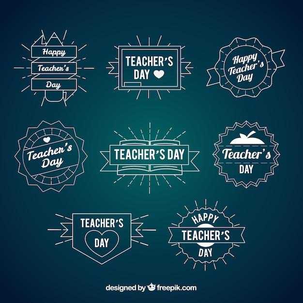 Hand drawn vintage teacher\'s day badges