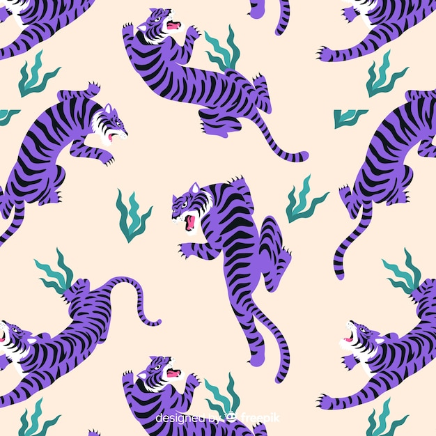 Hand drawn vintage tiger pattern Free Vector