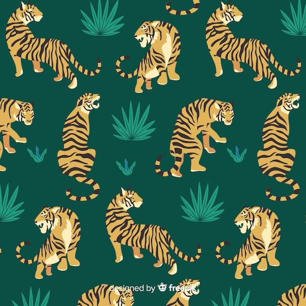 Hand drawn vintage tiger pattern Free Vector