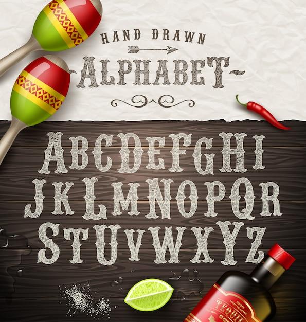 Рука нарисованные старинный шрифт - старый шрифт стиль мексиканской вывески. Premium векторы