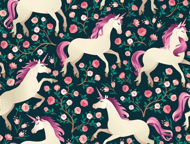 Hand drawn vintage unicorn in magic forest seamless pattern