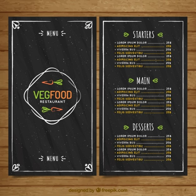 Hand drawn vintage vegan food menu in blackboard style Free Vector