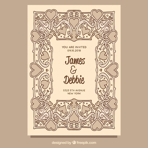 Hand Drawn Vintage Wedding Invitation Template Vector Free Download
