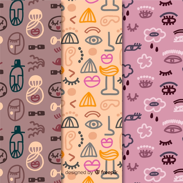 Hand drawn violet and pink abstract pattern collection Free Vector