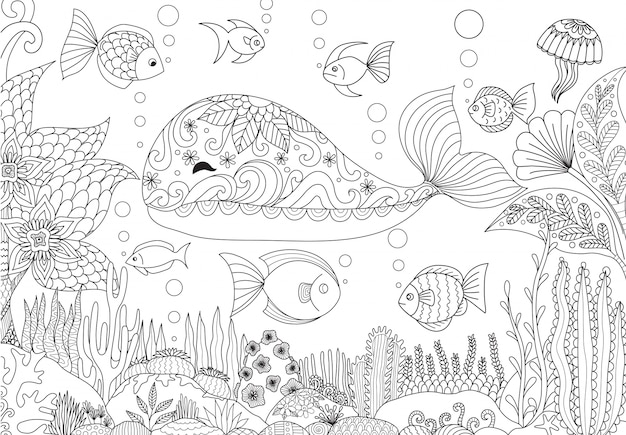Hand drawn wale background Free Vector