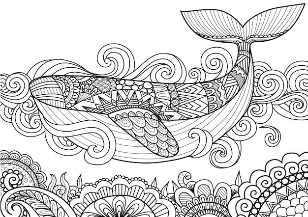 Hand drawn wale Premium Vector