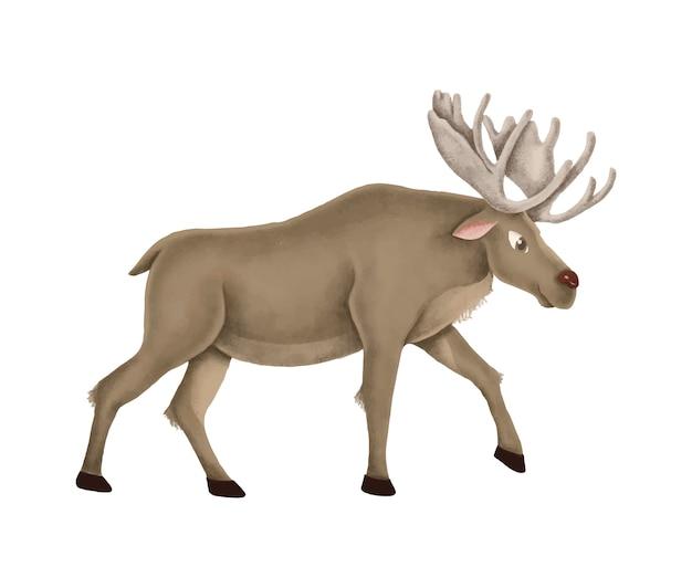 Hand-drawn walking cute moose Free Vector