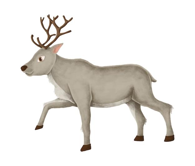 Hand-drawn walking reindeer Free Vector