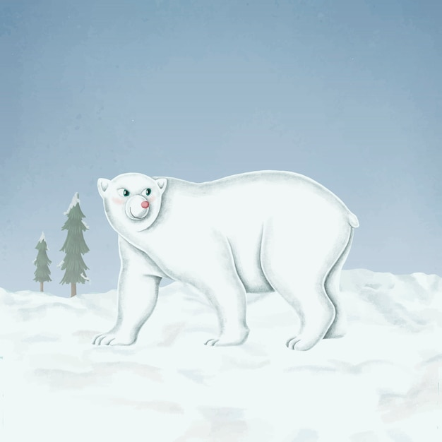 Hand Drawn Walking White Polar Bear Vector Free Download
