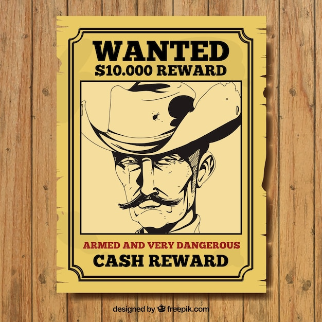 Handdrawn wanted poster of criminal in vintage style Vector Free