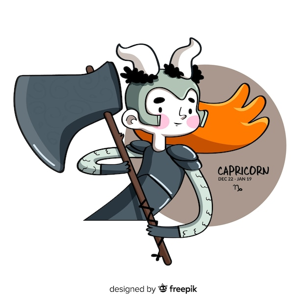Hand drawn warrior capricorn character Free Vector