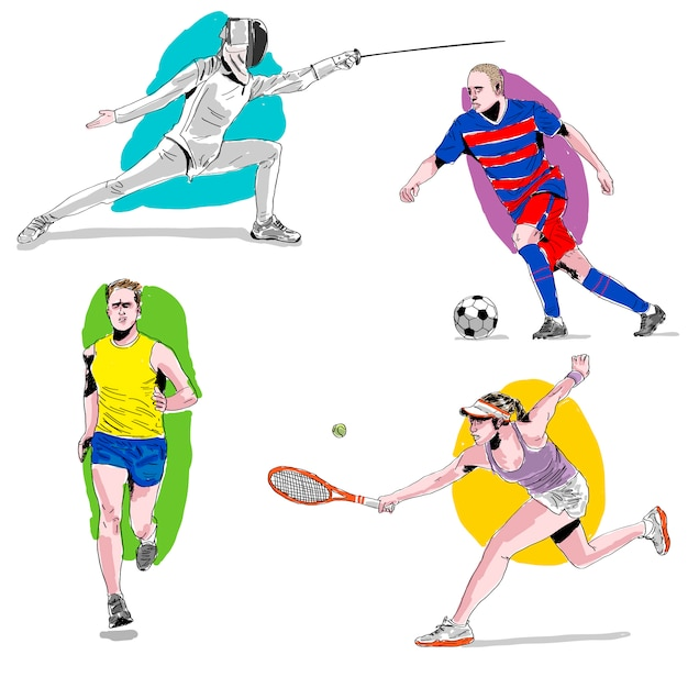 Hand drawn watercolor athletes in olympic\ games